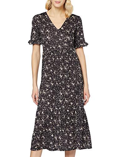 Miss Selfridge Black Textured Midi Smock Dress Vestito Casual, Nero, 6 Donna
