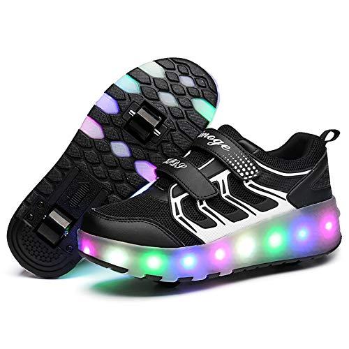 LuckyW Unisex Kinder LED Leuchtend Schuhe mit Doppelt Rollen Einziehbar Outdoor Sportschuhe 7 Farbe Farbwechsel Blinkschuhe Skateboardschuhe Vibration Blinking Gymnastik Sneaker für Geburtstag