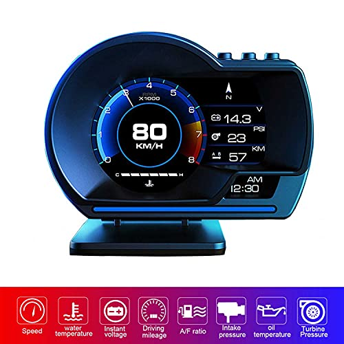 YUGUANG 4' Head Up Display, Car HUD Display For Cars OBD2 GPS Dual System OBD2 Gauge Display RPM OverSpeed Warning MPH Turbine Pressure Oil/Water Temperature Compass Time Altitude Fault Code Clean