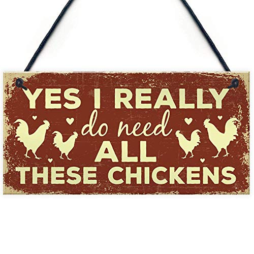 Funny Chicken Sign for Chicken Lovers Novelty Birthday Gift Sign for Chicken Coop Hen House Home Decor 10' X 5'(25x12.5 cm)