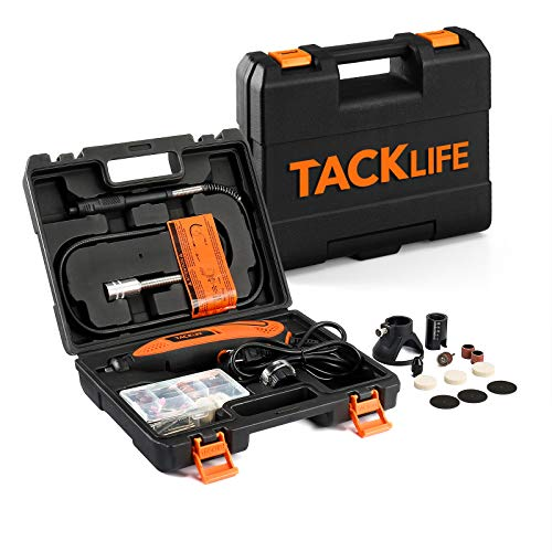 TACKLIFE Rotary Tool Kit Variable Speed with Flex shaft, Versatile Accessories and 4 Attachments and Carrying Case, Multi-functional for Around-the-House and Crafting Projects-RTD35ACL