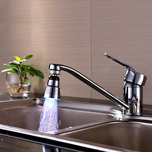 Fitiger 7 Color Changing LED Faucet Tap Water Faucet FI-B10,Rotate 360 Degrees Discoloration Circular Faucet Water Mouth for Bathroom or Kitchen
