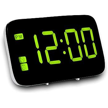 FBGood Réveil Numérique Réveil Numérique LED Reveil Matin pour Gros Dormeurs Grand Affichage à Chiffres Rouges Reveil Lumineux (Vert)