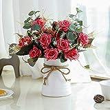 LESING Fiori artificiali in vaso di seta Rose composizioni di fiori finti bouquet con vaso in ceramica centrotavola per tavolo da pranzo, decorazione da cucina (rosso)