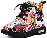 Beau Today Beautoday Boy's Girl's PU Waterproof Child Martin Boots Side Zipper Lace-up Ankle Boots White, 8 Toddler