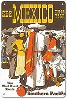 メキシコを参照してくださいティンサイン装飾ヴィンテージウォールメタルプラークレトロ鉄絵画カフェバー映画ギフト結婚式誕生日警告