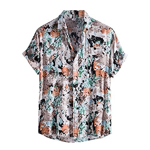 Camisa de verano para hombre, de manga corta, con botones, bolsillo frontal, estilo vintage A_Orange M