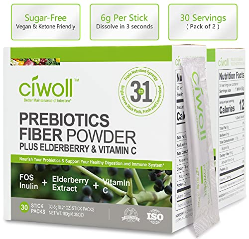 Colon Cleanse & Detox - Immune Support - Fiber Supplement Booster - with Prebiotics, Elderberry & Vitamin C - Constipation Relief & Ease Gas & Regularity, Probiotics Support - 60 Packets by Ciwoll