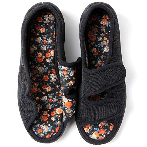 RockDove Women's Floral Lined Adjustable Slipper with Memory Foam, Size 10 US Women, Black