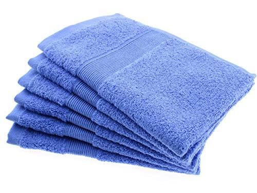 Juego de 6 Toallas de Mano Lavabo Azul 100% Algodón de 550g/ m² para Bebe Baño, Manos, Cara, Gimnasio Peliquerias y SPA - Dimensiones 30 cm x 50 cm [Fabricado en Portugal]