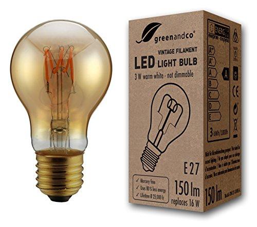 greenandco® Vintage Glühfaden LED Lampe ersetzt 16W E27 3W 150lm 2000K extra warmweiß 360° 230V flimmerfrei, nicht dimmbar, 2 Jahre Garantie