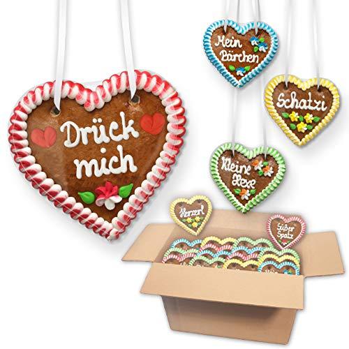 10 Stück Lebkuchenherzen Im Mischkarton Premium! Gemischte Farben & Sprüche Gastgeschenke Herz LEBKUCHEN WELT
