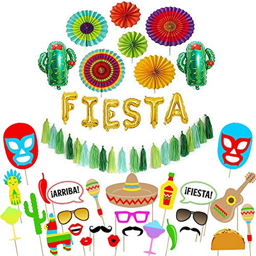 Decorations Supplies kit - Cactus decor foil Balloons, Gold Fiesta balloon banner, Fiesta helium balloons, Coco party paper tassel garland, Mexican party style paper fans-Fiesta Photo Props 26PCS