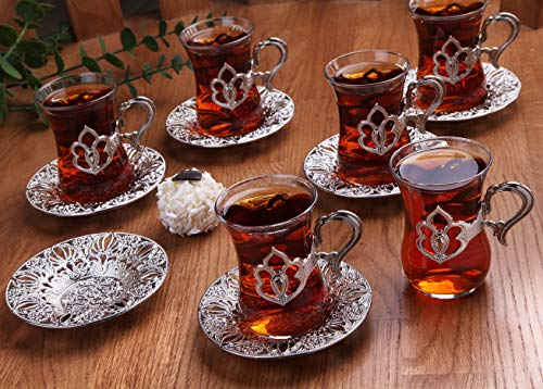 LaModaHome Turkish Arabic Tea Glasses Set of 6 with Silver Holders and Saucers - Fancy Vintage Handmade Set, Glass Tea Cup, Gift, Teatime