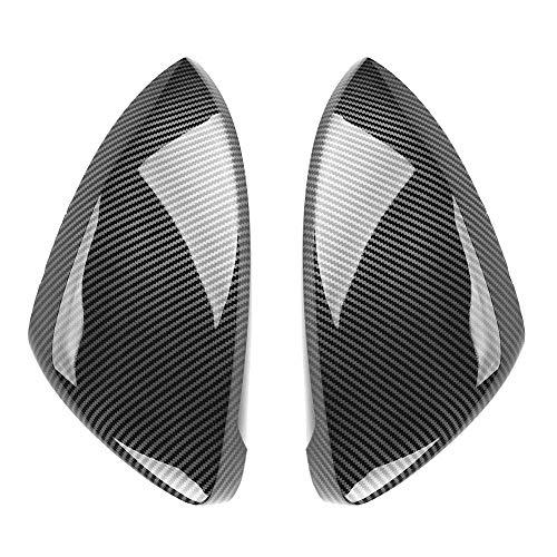 SENMIAO-TH 2 piezas de espejo retrovisor lateral Cubiertas Caps fibra de carbono Compatible with Volkswagen VW Golf Compatible with MK7 7.5 GTI 7 Compatible with el golf 7R Compatible with Touran L GT