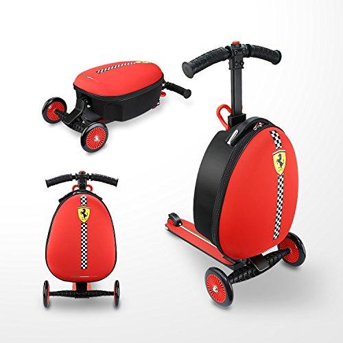 Ferrari Equipaje Maleta Patinete Scooter niños de 3 a 7 años tres ruedas Plegable Escúter altura ajustable Carga máxima 50 kg Rojo