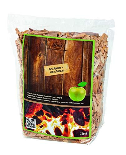 RÖSLE Räucherchips Apfel, 750 g, für Räucherbox auf Smoker, Holzkohle- und Gasgrills, rauchaktiv, naturbelassenes Holz