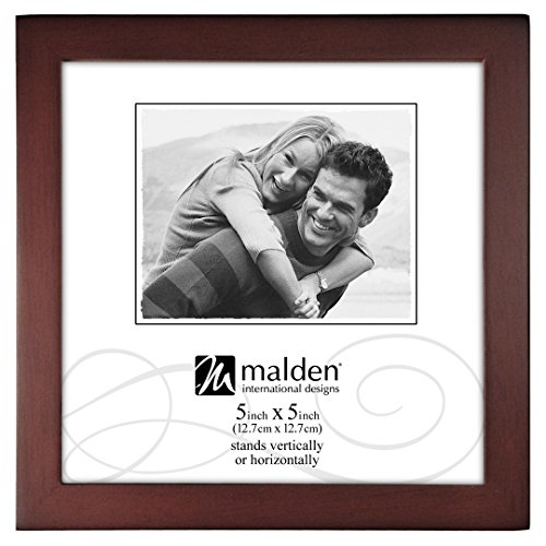 Malden International Designs Dark Walnut Concept Wood Picture Frame, 5x5, Walnut