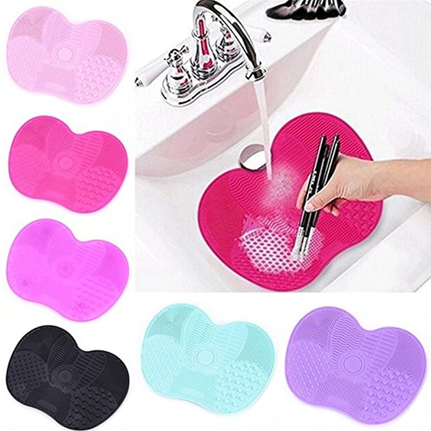 Makeup Brush cleaner Silicone Mat Make Up Washing Brushes Cosmetic Gel Board Cleaning Pad Cleaner Scrubber Tools (Random color)