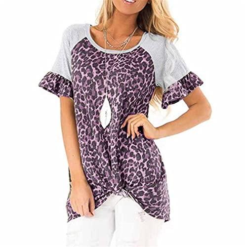 PRJN Tops con Estampado de Leopardo para Mujer Camiseta de Manga Corta con Cuello Redondo básica Informal Manga Corta Redondo Estampado de Leopardo de túnica Informal Jersey de Manga Corta para Mujer