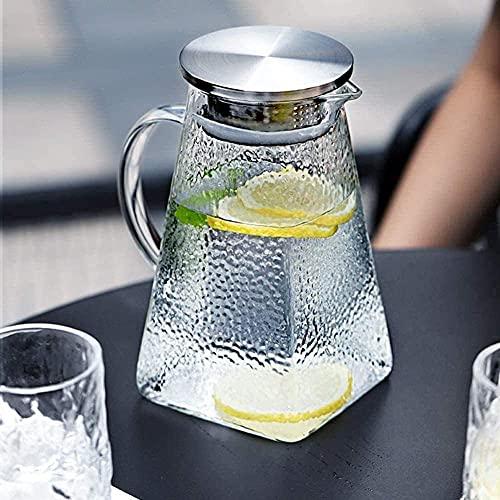 GHJA Jarra de Vidrio de borosilicato de Gran Capacidad con Mango Botella sin Goteo de Alta Temperatura para Jarra de Jugo Caliente o Helado para Taza de té de Flores (tamaño: 1000 ml)