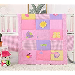 VIVILINEN Baby Crib Bedding Sets 3 Pieces 100% Cotton Pink Purple Butterfly Floral Nursery Toddler Crib Sets for Baby Girls   Crib Quilt, Fitted Sheet, Bed Skirt