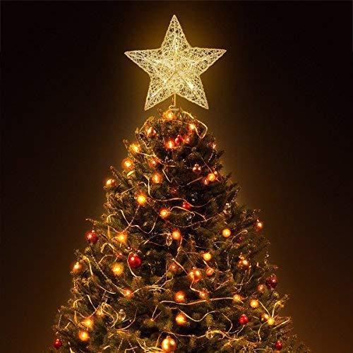 Hemoton Estrella de Cinco Puntas Árbol de Navidad LED Decoraciones,Star Treetop Light Decoración de Navidad Pentagram (Gold)