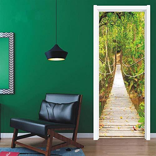 IDWX Etiqueta engomada de la Puerta 3D extraíble, Vinilos para Puertas de Puente de Honda, Se Puede Utilizar para la decoración de Puertas de dormitorios y Salas de Estar 77 * 200 cm.