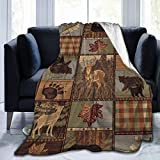 YISHOW Rustic Lodge Bear Moose Fleece Throw Blanket, Cozy Sherpa Plush Blankets for Bed Couch Sofa - 60' x 50'