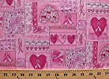 Cotton Breast Cancer Ribbon Hearts Love Happy Pink Cotton Fabric Print by The Yard (D763.44)