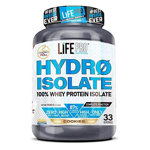 Life Pro Hydro Isolate 1 kg   Isolato di siero in polvere con 84% di proteina   guadagnare massa muscolare   Perfetto per lo sviluppo muscolare (COOKIES)