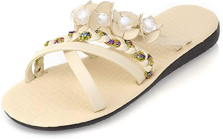 Gedigits Women's Bohemian Flower Strappy Slide Sandals Beaded Open Toe Flats Gladiators Black 4 M US