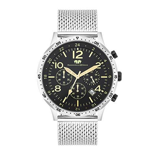 Rhodenwald & Söhne Herren Uhr analog Japan Quarzwerk mit Edelstahl Silber Armband 10010310
