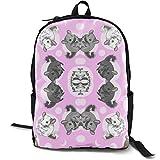 XCNGG Mochila de impresión de fotograma Completo para Adultos Mochila Informal Mochila Mochila Escolar Backpacks Pink Chinchillas and Moon Dots School Bag Travel Daypack Shoulder Bag
