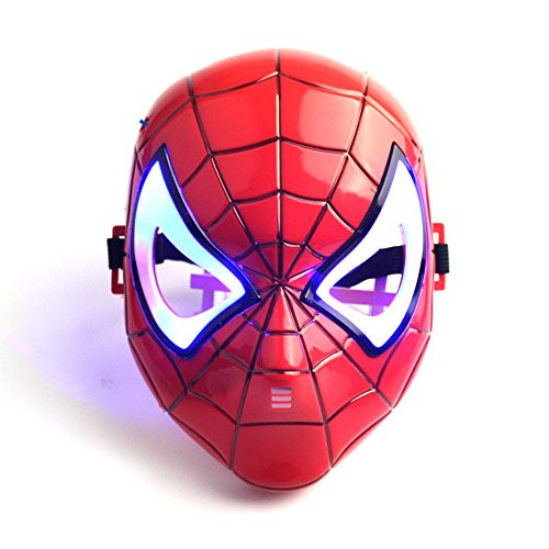 Ourwarm Spiderman maschera con luce LED blu per bambini adulti travestimento di Halloween Cosplay Mask, set di 1