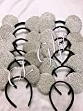 Set of 12 - Silver Sequin Mickey Mouse Ears,Bride Wedding Minnie/Snow White Ears, DIY Mickey Ears, Minnie Ears, Minnie Mouse Ears, DIY Mickey Ears.
