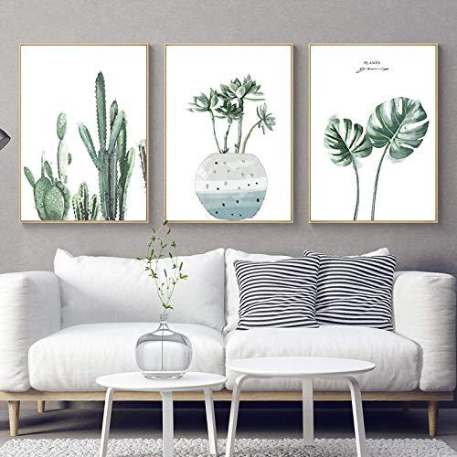 Tanyang Cartel nórdico Verde Hoja Monstera Arte de la Pared Pintura de la Lona Acuarela Planta Cactus Imprimir imágenes para la Sala de Estar Decoración para el hogar Sin Fram