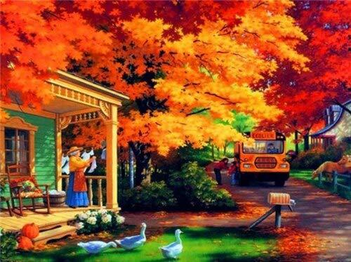 Pintura de diamante de círculo completo 5d DIY otoño bordado de diamantes mosaico paisaje regalo hecho a mano decoración del hogar pintura A2 30x40cm