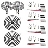 KITCHEN BASICS 101 MP22YA Electric Range Burner Coil Set Replacement for Whirlpool KitchenAid Maytag - Includes 2 8-Inch MP21YA and 2 6-Inch MP15YA Burners with 4 Ceramic Plug-in Terminal Blocks