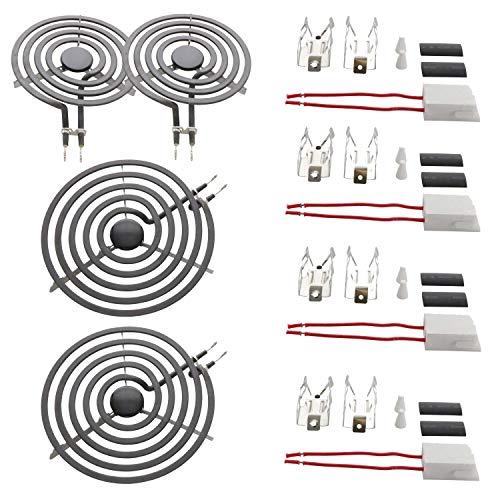 KITCHEN BASICS 101 MP22YA Electric Range Burner Coil Set Replacement for Whirlpool KitchenAid Maytag - Includes 2 8-Inch MP21YA and 2 6-Inch MP15YA Burners with 4 Ceramic Plug-in Terminal Blocks