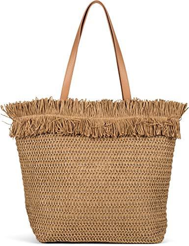 styleBREAKER Cesta para damas, bolsa de playa con asas largas, bolsa tejida, cremallera, shopper 02012348, color:Marrón