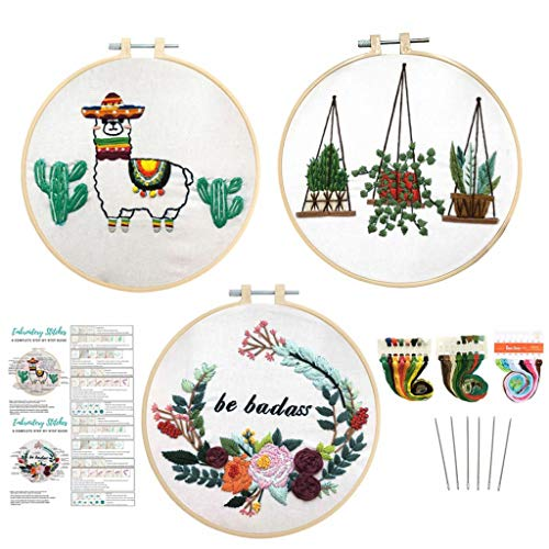 Louise Maelys 3 Pack Embroidery Kit for Beginner Animal Flowers Plant Pattern Cross Stitch Needlepoint Kit Funny Embroidery Starter Kit for Decor