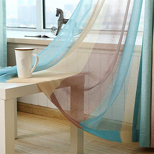 AiFish 2 Panels Rod Pocket Striped Decorative Home Fashion Window Treatment Draperies Gauzy Tulle Voile Linen Drapes Curtains Panels Sheer Curtains for Sliding Glass Door 1 Pair W52 x L84 inch