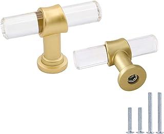 homdiy Acrylic Drawer Knobs Brushed Brass Cabinet Knobs -LS9165GD Drawers Kitchen Cabinet Knobs Cabinet Hardware Bathroom ...
