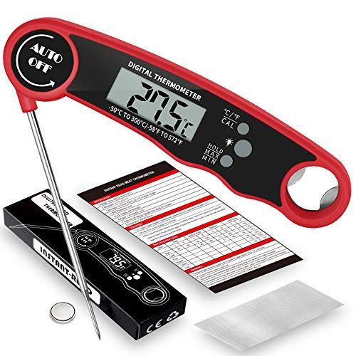 LIRDUX® Digital kötttermometer Grilltermometer Stektermometer, Omedelbar avläsning, LCD-skärm, Kökstermometer för grillgrill Grillugn | Magnet, hängande, vattentät IP67
