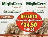 F&F 53070 MiglioCres Linea Capelli, Integratore Alimentare, 60+60 Capsule Promo