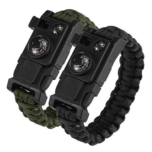Lixada 2 PCS Réglable Paracord Bracelet De Survie Multifonctionnel Bracelet d'urgence avec Sifflet Boussole Thermomètre Démarreur D'incendie pour La Pêche Randonnée Camping
