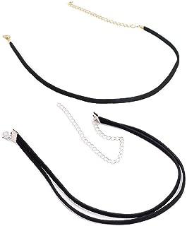 WaMLFac 2-3Pcs Girls Handmade Long Black Velvet PU Leather Chain Stretch Tattoo Choker Elastic Tassel Necklaces