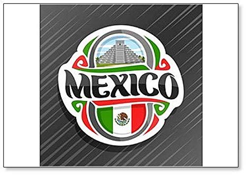 Mexiko, Tempel Kukulkan in Chichen Itza mit mexikanischer Flagge Klassischer Kühlschrankmagnet