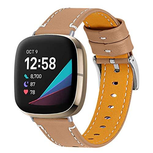 Compatible con Fitbit Versa 3 correa/Fitbit Sense, correa deportiva elegante hebilla de metal correa de repuesto de cuero suave ajustable de 5.5 a 7.8 pulgadas para mujeres y hombres, café